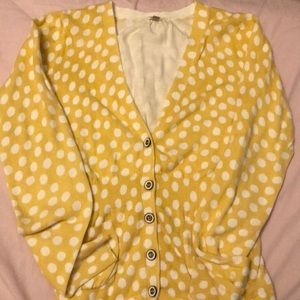A Yellow Polk a dot cardigan